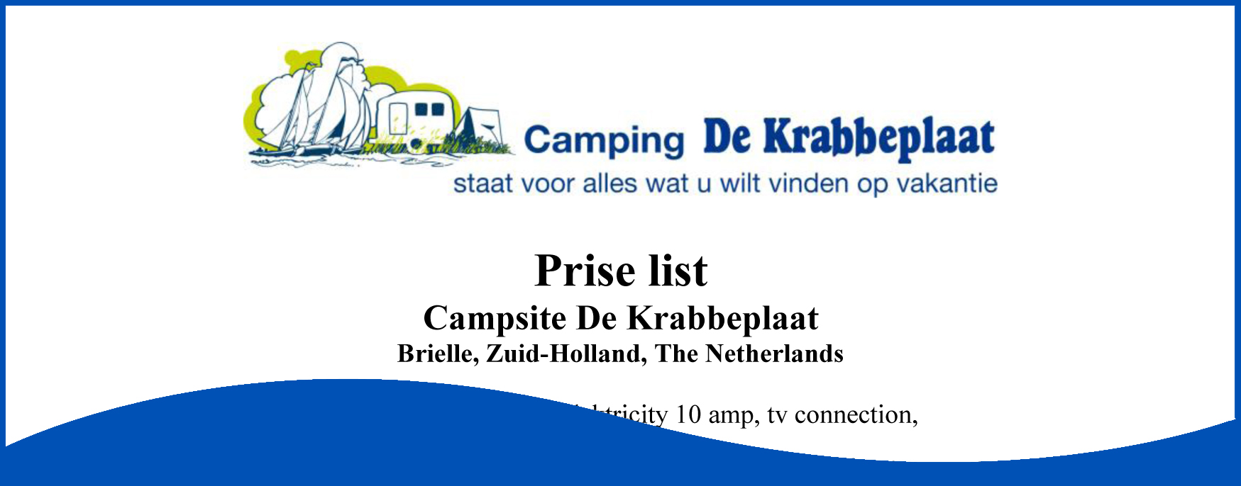 Price List Camping De Krabbeplaat